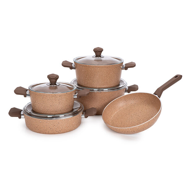 Pentola 9 Pieces Granite Cookware Set Brown image number 0