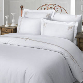 Boutique Balanch 5 Pieces Cotton Duvet Cover 300 Tc ,Glamor White 260X240 Cm King