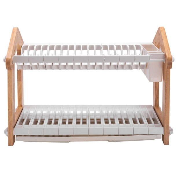 Alberto 2 Layers Rubber Wood Withplastic Dish Rack White image number 1