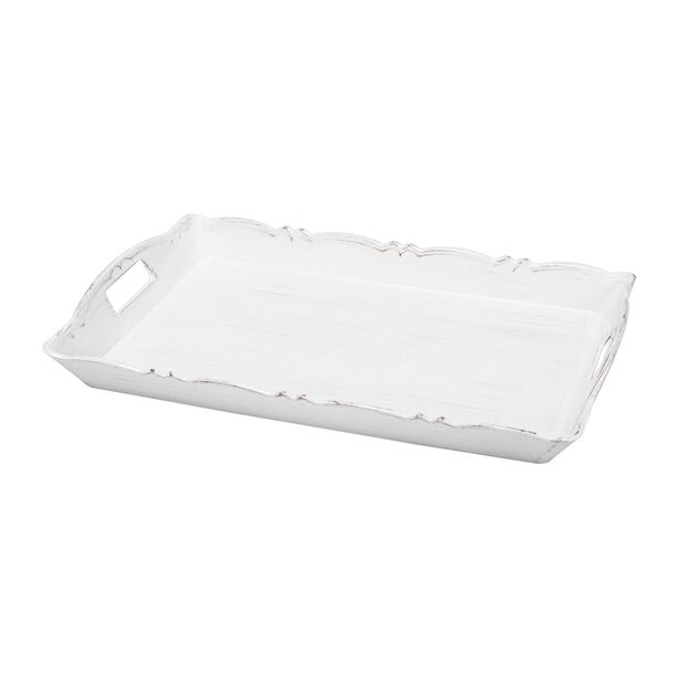 Serving Tray Antique Finish White Color image number 0