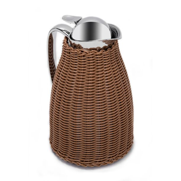 Dallaty Stainless Steel Vacuum Flask Rattan With Design Of Bamboo Light Brown 1L image number 1