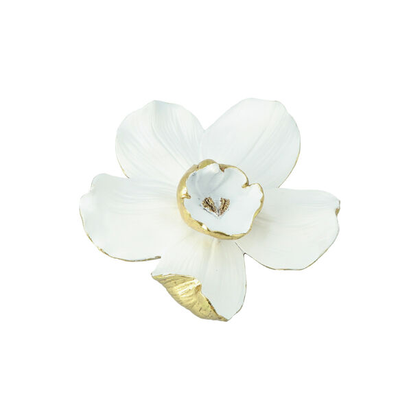 Wall Accent Orchid Flower White And Gold  image number 0