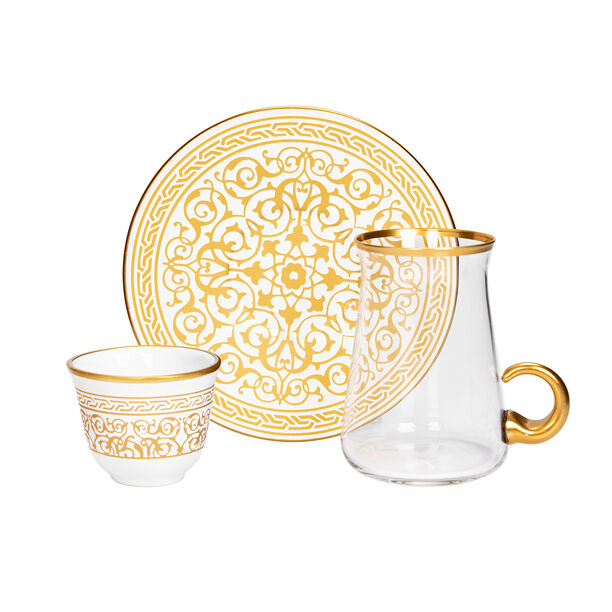 18 Pieces Tea And Arabic Kawa Set With Golden Glass Handle image number 1