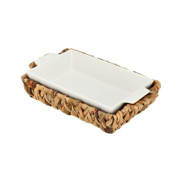 Porcelain Rectangular Dish With Rattan Basket image number 2