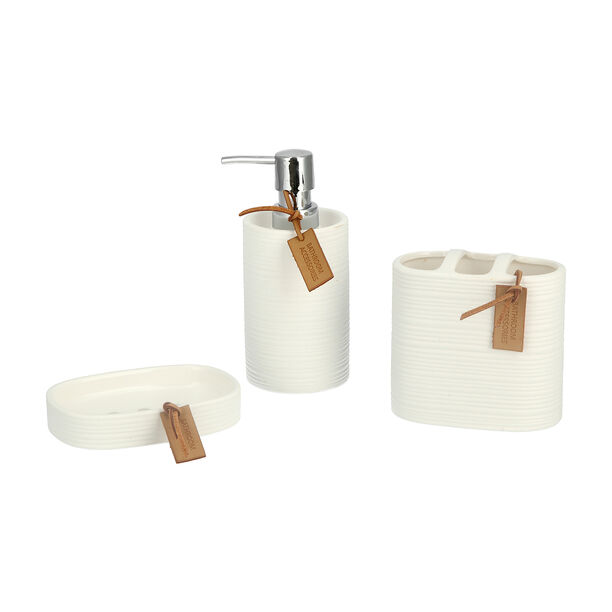 Stoneware Bath Set 3 pieces Ivory image number 0