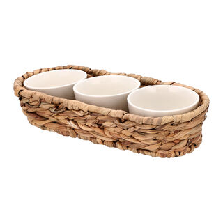 3Pcs Porcelain Round Bowl With Rattan Basket