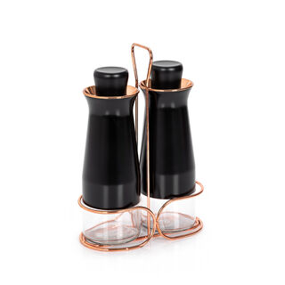 Alberto 2 Pieces Glass Oil And Vinegar Cruet Set Withstand Black & Rose Gold