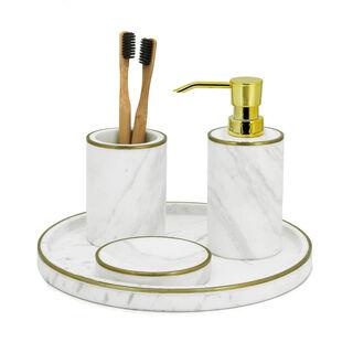 Stoneware Bath Set 3 pieces White