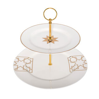 2 Tiers Porcelain Serving Stand Arabisque