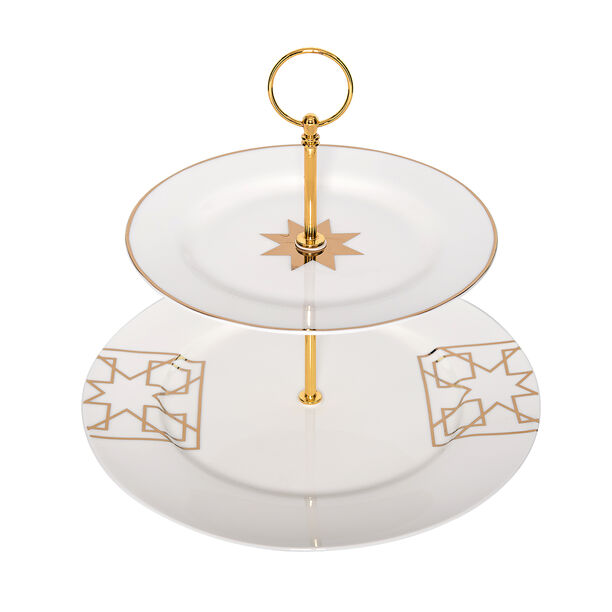 2 Tiers Porcelain Serving Stand Arabisque image number 0