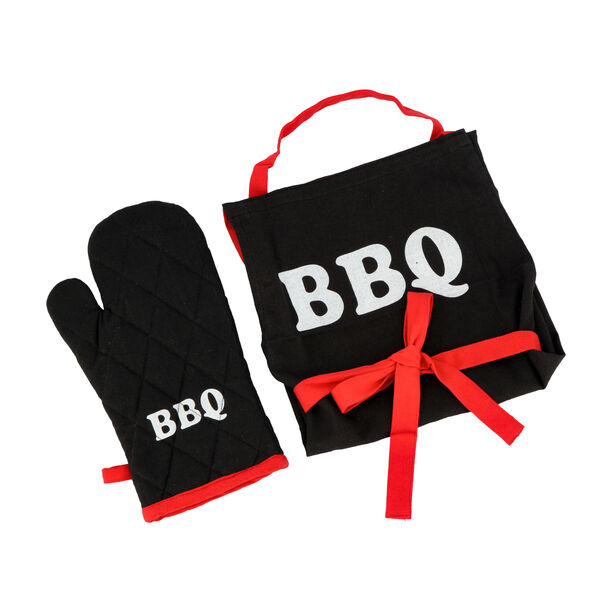 2 Pieces Cotton Kitchen Apron & Glove With Bbq Design image number 1