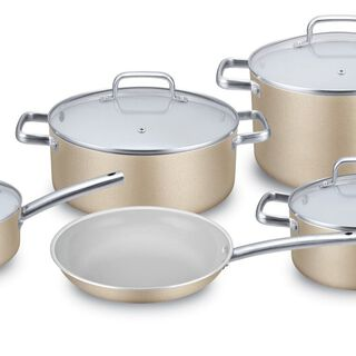 9Pcs Non Stick Cookware Set With Ceramic Coating Inside Gold