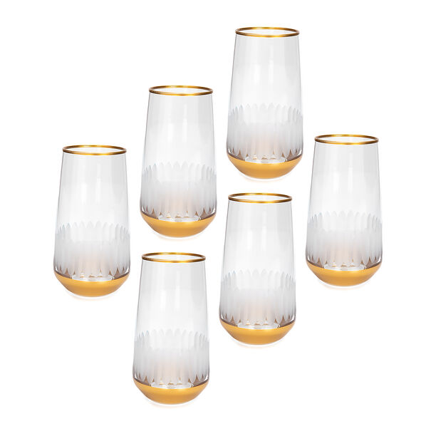 Liviano Sunflower Gold 6 Pieces Set Hiball Glass image number 0