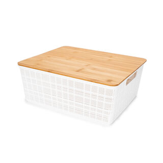 Plastic Storage Basket With Bamboo Lid 12L