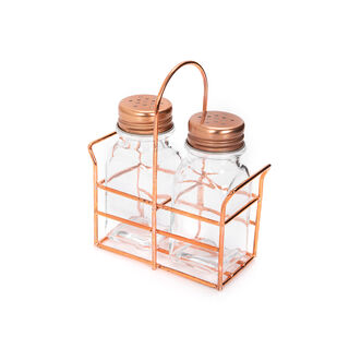 Alberto 2 Prieces Glass Salt And Pepper Set With Metal Stand