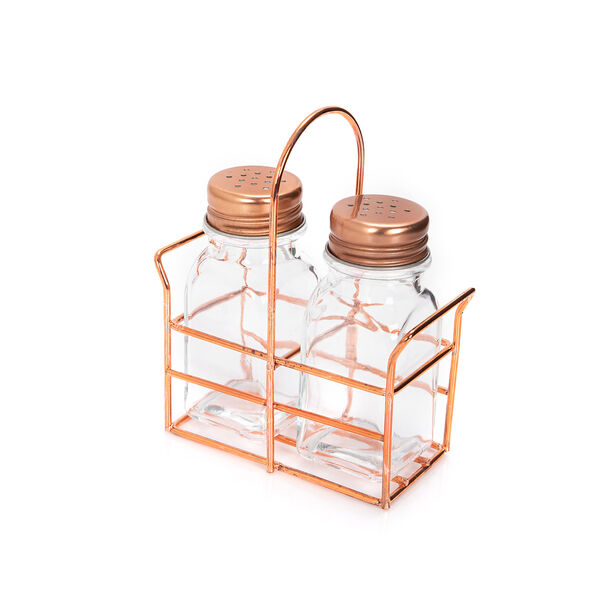 Alberto 2 Prieces Glass Salt And Pepper Set With Metal Stand image number 0