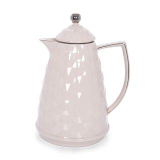 Dallaty Porcelain Vacuum Flask L:30Cm White Color With Silver Rim