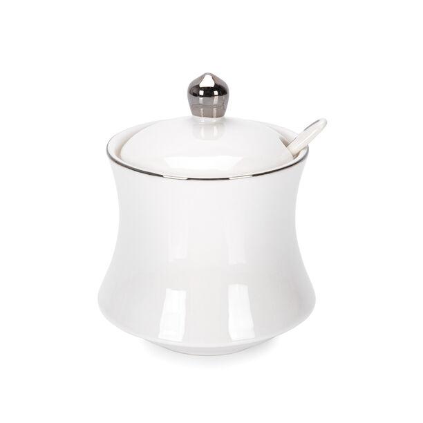 Sugar Pot 1Pc Porcelain Silver Rim image number 0
