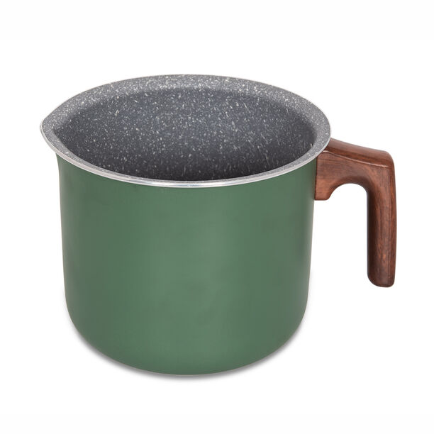 Alberto Non Stick Milk Pan Matt Green With Wooden Handle image number 0