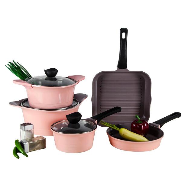 Alberto Tulip Aluminium Cookware Set 8Pcs With Glass Lids Pink Color image number 1