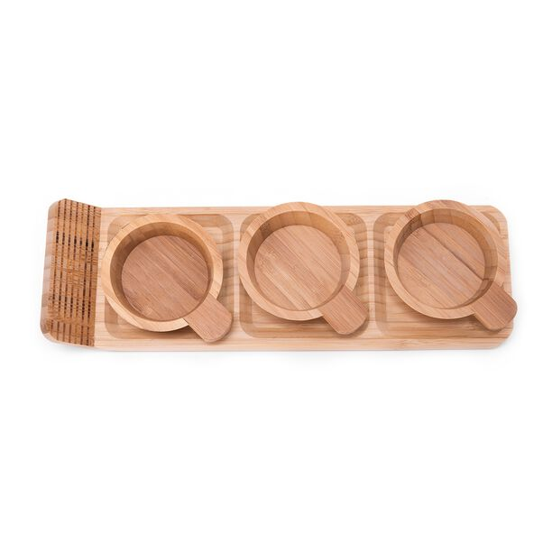 Alberto 3 Pieces Bamboo Dip Bowls With Tray image number 2
