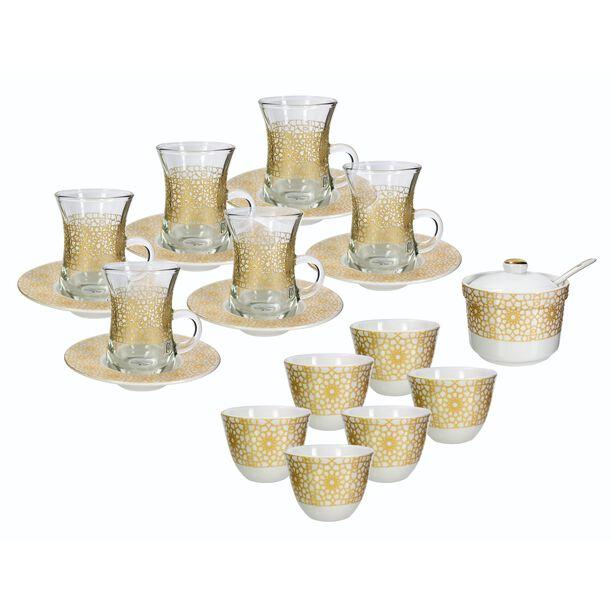 طقم شاي و قهوة عربي 20 قطعة لون ذهبي/أبيض image number 0