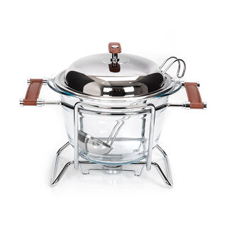 Cadiz Chromeplated 4 Lt. Round Soup Warmer W/ S/S Cover W/ Ladle (Brown Leather Handles)