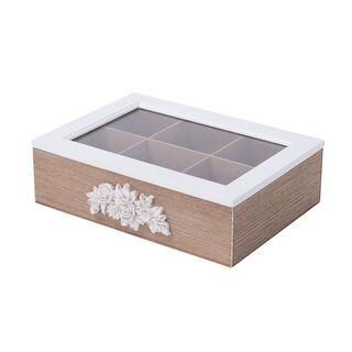 صندوق شاي 6 اقسام بغطاء زجاجي