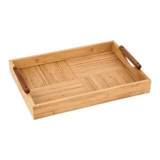 Bamboo Serving Tray With Wood Handle
