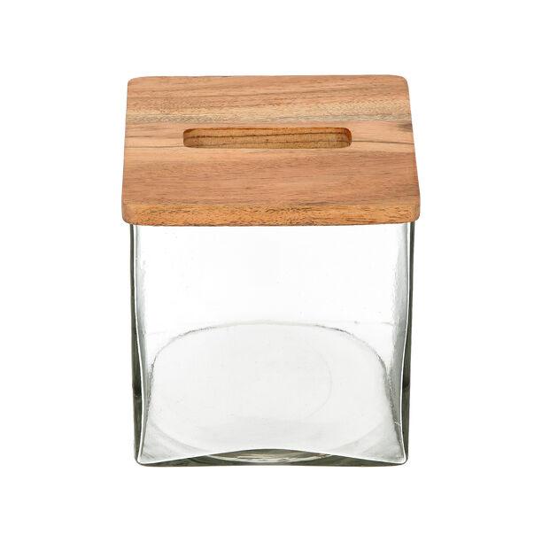 علبة مناديل من الخشب والزجاج image number 3