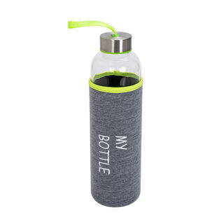 Alberto Glass Bottle With Neoprene Cover Grey And Fushia Color V:600Ml