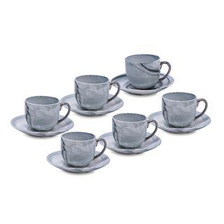 طقم أكواب الشاي 12 قطعة تصميم الرخام