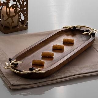 صينية تقديم خشبية بيضاوية الشكل تصميم الزيتون مقاس 40 سم