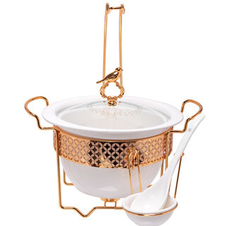 Round Food Warmer Deep With Hanger Gold