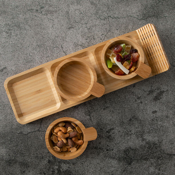 Alberto 3 Pieces Bamboo Dip Bowls With Tray image number 3